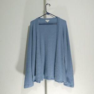 Maxmara baby blue wool blend open front knit cardi